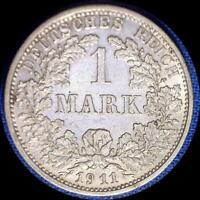 GERMANY 1911 F 1 MARK OLD SILVER WORLD COIN HIGH GRADE