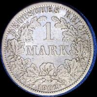 GERMANY 1902 A 1 MARK OLD SILVER WORLD COIN
