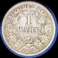 GERMANY 1874 F 1 MARK OLD SILVER WORLD COIN