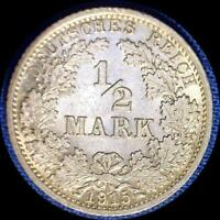 GERMANY 1915 A 1/2 MARK OLD SILVER WORLD COIN HIGH GRADE