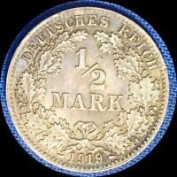 GERMANY 1919/9/9 D 1/2 MARK RE PUNCHED DATE  OLD SILVER WORLD COIN HIGH GRADE