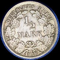 GERMANY 1916 F 1/2 MARK OLD SILVER WORLD COIN HIGH GRADE