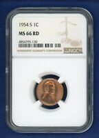1954 S NGC MINT STATE 66RD LINCOLN WHEAT CENT 1C PENNY US MINT 1954-S MINT STATE 66 RD