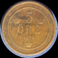 SWEDEN 1879 5 ORE OLD COPPER WORLD COIN   LOW MINTAGE 350 000