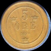 SWEDEN 1878 5 ORE OLD COPPER WORLD COIN   HIGH GRADE  LOW MINTAGE 364 000