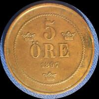 SWEDEN 1897 5 ORE OLD COPPER WORLD COIN