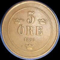 SWEDEN 1891 5 ORE OLD COPPER WORLD COIN