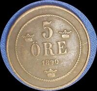 SWEDEN 1890 5 ORE OLD COPPER WORLD COIN