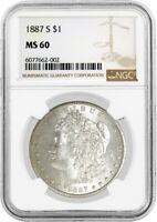 1887 S $1 MORGAN SILVER DOLLAR NGC MINT STATE 60 UNCIRCULATED KEY DATE COIN