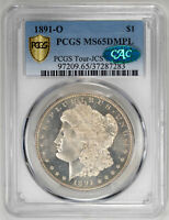 1891-O $1, DM MORGAN DOLLAR - PCGS MINT STATE 65DMPL CAC CERTIFIED US  COIN