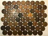 BIG ROLL OF 71 1918 LINCOLN WHEAT CENTS, AG-F, MOST WITH PROBLEMS. MG5