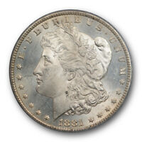 1881 CC $1 MORGAN DOLLAR PCGS MINT STATE 63 UNCIRCULATED CARSON CITY MINT LIGHTLY TONED