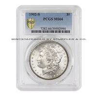 1902-S $1 SILVER MORGAN PCGS MINT STATE 66 SAN FRANCISCO MINT STATE GEM DOLLAR COIN
