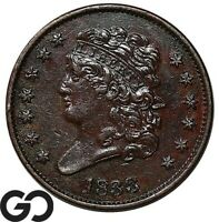 1833 HALF CENT CLASSIC HEAD EARLY COLLECTOR COPPER