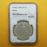 NGC 1899B GREAT BRITAIN $1 AU55 OLD CHINESE SILVER COIN