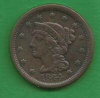 1844 BRAIDED HAIR LARGE CENT   176 YEARS OLD