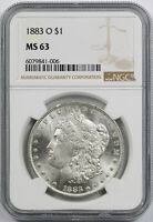 1883-O MORGAN DOLLAR $1 MINT STATE 63 NGC