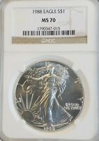 1988 AMERICAN SILVER EAGLE NGC MS70 PERFECT WOW