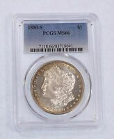 1880-S MORGAN DOLLAR CERTIFIED PCGS MINT STATE 66 SILVER $ COOL PERIPHERAL TONING
