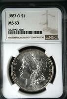 1883 O NGC MINT STATE 63 MORGAN SILVER DOLLAR