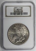 1881 S MORGAN SILVER DOLLAR NGC MINT STATE 63
