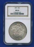 1891 P NGC MINT STATE 62 MORGAN SILVER DOLLAR $1 US  NGC 1891-P MINT STATE 62 LOOKS PL