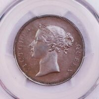 PCGS-MINT STATE 62BN 1845 STRAITS SETTLEMENTS ONE CENT  UNC