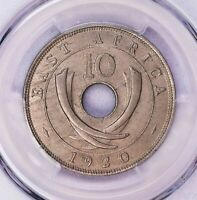 PCGS-MINT STATE 63 1920-H EAST AFRICA 10CENTS ONE YEAR TYPE