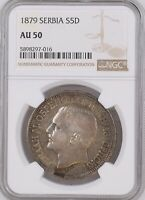 SERBIA 5 DINARA 1879 NGC AU50, POP 1/2, ONLY 8 IN HIGHER GRADES BEAUTIFUL TONING