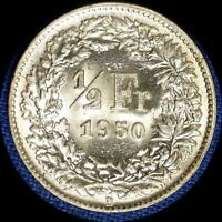 9 SWITZERLAND 1950S 1/2 FRANC OLD SILVER WORLD COINS HIGH GRADE NINE DIFFERENT