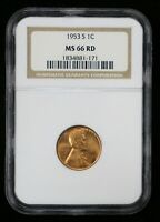 1953-S LINCOLN WHEAT CENT NGC MINT STATE 66 RD - 07371