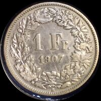 SWITZERLAND 1907 FRANC OLD SILVER WORLD COIN