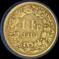 SWITZERLAND 1910 FRANC OLD SILVER WORLD COIN