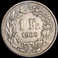 SWITZERLAND 1906 FRANC OLD SILVER WORLD COIN