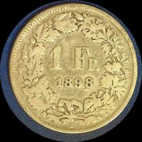 SWITZERLAND 1898 FRANC OLD SILVER WORLD COIN   MINTAGE 400 000