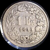 SWITZERLAND 1899 FRANC OLD SILVER WORLD COIN   MINTAGE 400 000