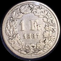 SWITZERLAND 1887 FRANC OLD SILVER WORLD COIN