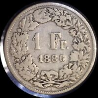 SWITZERLAND 1886 FRANC OLD SILVER WORLD COIN