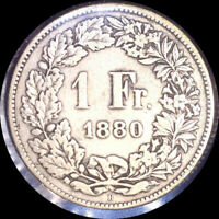 SWITZERLAND 1880 FRANC OLD SILVER WORLD COIN