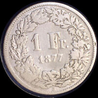 SWITZERLAND 1877 FRANC OLD SILVER WORLD COIN CLEANED