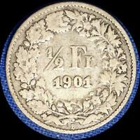 SWITZERLAND 1901 1/2 FRANC OLD SILVER WORLD COIN   MINTAGE ONLY 200 000