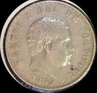 PORTUGAL 1899 500 REIS OLD SILVER WORLD COIN CLEANED