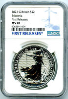2021 GREAT BRITAIN 1OZ SILVER BRITANNIA NGC MS70 FIRST RELEASES   NEW SECURITY