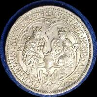 GERMANY 1927 A NORDHAUSEN 3 REICHMARK OLD SILVER WORLD COIN CH.BU