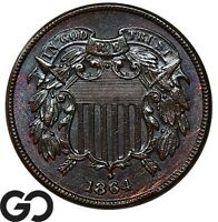 1864 TWO CENT PIECE LARGE MOTTO SHARP & ATTRACTIVE GEM BU