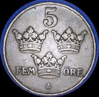 SWEDEN THREE 5 ORE OLD WORLD COINS 1911 12 13 NICE SHAPE