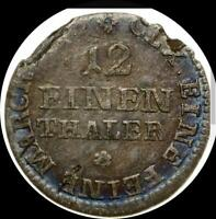 GERMAN STATES SAXONY C.1763 1/12 THALER   OLD SILVER WORLD COIN