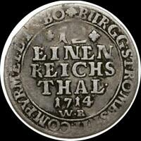GERMAN STATES SAXONY 1714 WR 1/12 THALER   OLD SILVER WORLD COIN