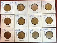 LOT OF 12X USA LINCOLN WHEAT CENTS - DATES: 1937-D TO 1954-D