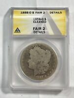 1888-O 1$ CERTIFIED FR2 MORGAN SILVER DOLLAR ANACS GRADED FA CLEANED